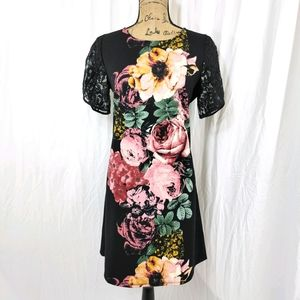 LUX II Floral and Lace Crepe Women's Dress Sm